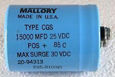 New Electrolytic Capacitor Mallory 15000 Mfd/Uf 25V Dc Surge 30V