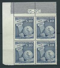 CHILE 1958 CAJA DE AHORROS block of 4 MNH  10 pesos