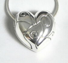 Unique Solid Sterling Silver Heart Pendant Handcrafted Jewelry with Snake Chain