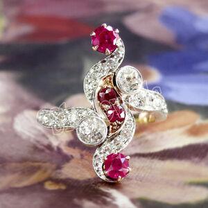 IGI Certified 0.71ct Natural Round Diamond 14K Yellow Gold Ruby Wedding Ring