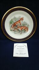 Vintage Lenox Woodland Wildlife Foxes Collector Plate by Boehm 1973 Usa