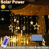 Solar LED Moon Star Twinkle Curtain String Fairy Lights Outdoor Garden Lamps UK