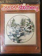 Sunset Stitchery Winter Snowfall Embroidery Crewel Kit 16x16 Vintage Snow Scene
