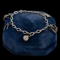 Antique Vintage Deco Sterling Silver Souvenir Maple Leaf Charm Bracelet 14.3g