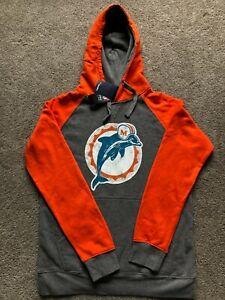 NWT Miami Dolphins NFL Pro Line Fanatics Gray Mens Pullover Hoodie Sweatshirt M