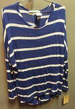 $57 NWT Vintage Havana Brand Blue White Stripe Awesome Back Design Sweater M