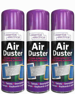 3 x Compressed Air Duster Spray Can Cleans Protects Laptops Keyboards  200ml