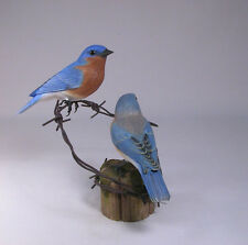 Eastern Bluebird (M+F) Pair Backyard Carvings/Birdhug