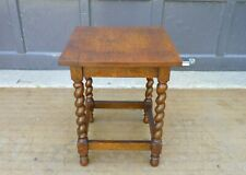 Antique Arts & Crafts Tiger Oak Barley Twist Legs Taboret Table plant stand