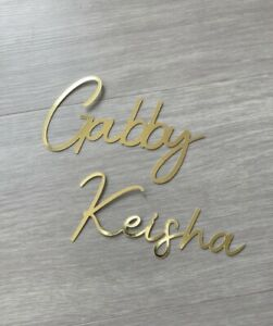 Name Charm, Cake Charm, Mirror Gold, Personalised Charm, Cake Topper, Cale Charm