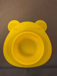 Babies Kids Silicone Highchair Feeding Tray - Suction Bear Bowl Yellow - Used
