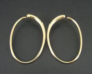 Large UTC Italy Gold Vermeil Sterling Silver Hoop Pierced EARRINGS
