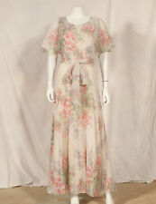 70'S FRENCH VINTAGE FLOWER PRINT MAXI DRESS UK 8 fitted 10