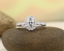 Ring White Plated In 925 Ss Solitaire Style 2.40Ct White Oval Stone Engagement