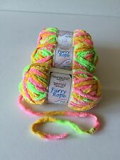 3 New Skeins Of Needle Crafters Furry Rope chenille yarn Multicolored