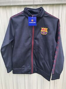 NWT FC Barcelona Zip Up Jacket Size Youth Large Boys Blue and Red FCB Official