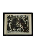 "Mid Century Vintage 1964 ""Bears in the Forest"" Framed Woodblock Print Signed"