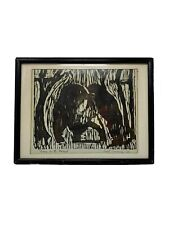 """Mid Century Vintage 1964 """"Bears in the Forest"""" Framed Woodblock Print Signed"""
