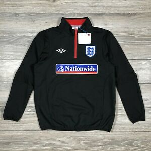 England Training Umbro 1/4 Zip Drill Top Jacket Football Soccer Black size L