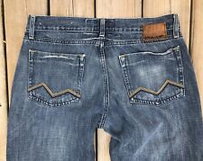ENERGIE Jeans Mens 34 Bootcut Whiskered Denim Bukley Buttonfly Cotton 34 x 32