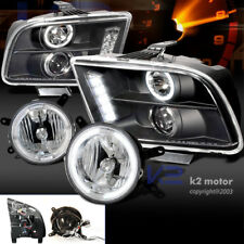 05-09 FORD MUSTANG GT BLACK PROJECTOR HEADLIGHTS+CLEAR HALO FOG LIGHTS