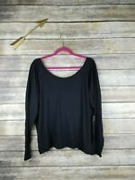 Fabletics Women's Size XL Black Switch Back Supima Cotton Long Sleeve Tee Shirt