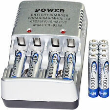 12x AAA 3A 1000mAh 1.2 V Ni-MH BTY Rechargeable Battery Cell+ Battery Charger US