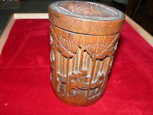 Japanese Carved Bamboo tea caddy  Vintage Antique