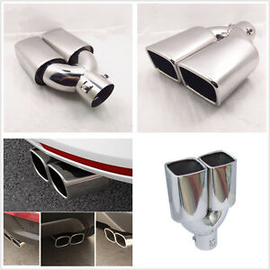 Stainless Steel 63mm 2.5'' Inlet Car SUV Rear Tail Dual Exhaust Pipe Muffler Tip