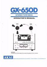 Akai  Bedienungsanleitung user manual owners manual  für GX- 650 D englisch
