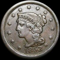 1853 Braided Hair Large Cent Penny ---- Nice Type Coin ---- #H413