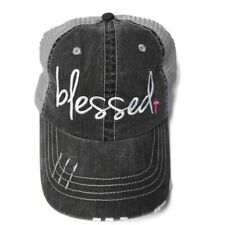 Distressed and Embroidered Blessed Trucker Style Adjustable Hat w/ Curved Bill