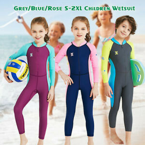 Girls Boys Kids Diving Dive Wetsuit Surf Suit Full Long Sleeve Swimwear UV