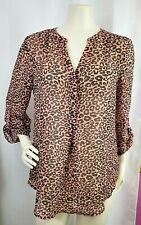 Maurices Womens M Blouse Leopard Animal Print Sheer Flowy Roll Tab Polyester