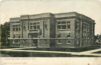 Frankfort Indiana~Carnegie Library Building~West Clinton~1910 B&W Postcard