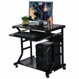 Rolling Computer Desk Laptop PC Coner Table Desktop w/ Rolling Wheel Home Office