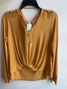 SELF ESTEEM Front Twist Long Sleeve Women's Top Lace Back Detachable Necklace 🌻