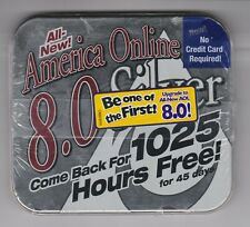 AOL America Online Windows 8.0 Silver tin CD case sealed never used