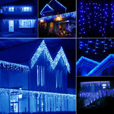 Blue 4M 96 LED Hanging Icicle Curtain Light Outdoor Fairy Xmas String Wedding WQ