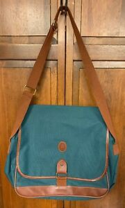 Polo Ralph Lauren Briefcase Attaché Green Brown Tote Bag Strap