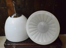Vintage Large White Opaline Glass Pendant Light with Flower Detail - rewired