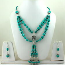 NATURAL TIBETAN TURQUOISE GEMSTONE BEADED NECKLACE & EARRINGS 77 GRAMS