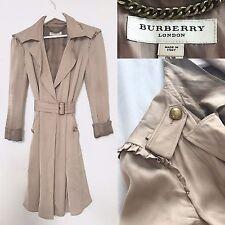 Burberry Trench Coat | Pale Dusky Pink Ruffle Shoulder Duster Wrap Coat | UK 6