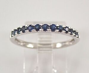 Sapphire Wedding Ring Anniversary Band Stackable White Gold Size 7.25 September