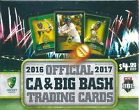 2016-17 tap n play  ca & big bash trading cards  36 packets  factory sealed box