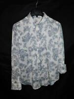 Ann Taylor L NWT White Blue Floral Blouse Roll Tab Sleeve Cuff Shirt New Large