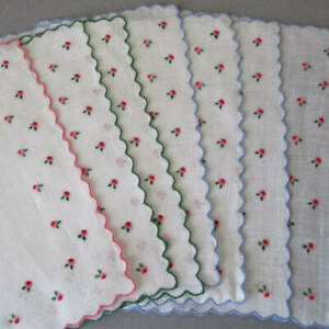7 Vintage Linen Cocktail Napkins Hand Embroidered Tiny PINK ROSES Scalloped Trim