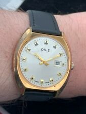 Vintage Swiss Made 7 Jewels Oris Gold Plated Manual Wind Wristwatch C. 1970's
