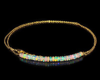 Ethiopian Opal Bar Necklace 925 Sterling Silver Natural Bead Gemstone Women Gift