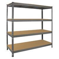 Garage Racking Heavy Duty Shelving 4 Tier Unit Boltless Steel Bay Metal Shelves